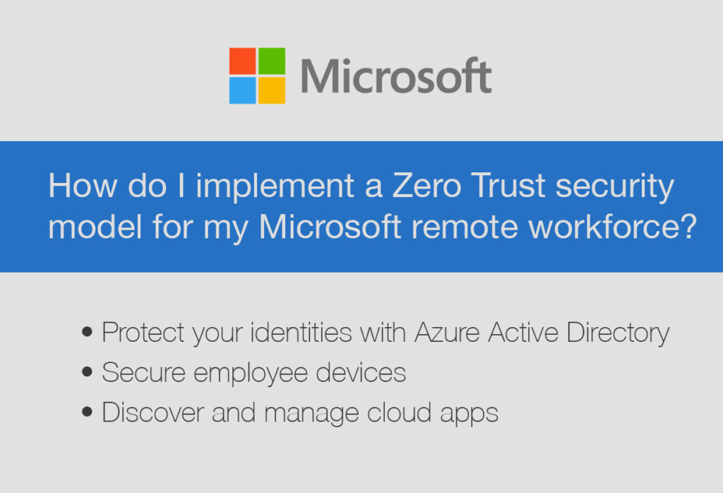 How do I implement a Zero Trust security model for my Microsoft remote workforce?